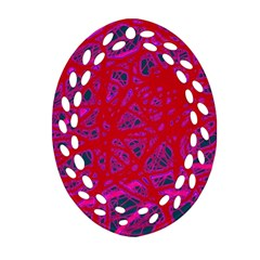 Red neon Oval Filigree Ornament (2-Side)