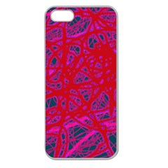 Red neon Apple Seamless iPhone 5 Case (Clear)