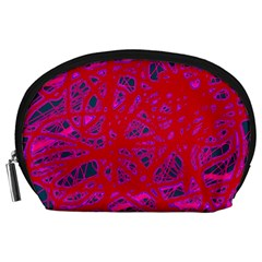 Red neon Accessory Pouches (Large)