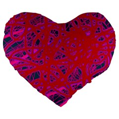 Red neon Large 19  Premium Flano Heart Shape Cushions