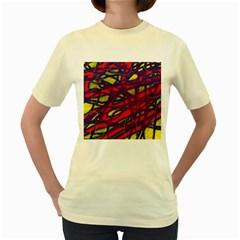 Abstract high art Women s Yellow T-Shirt