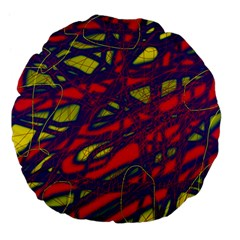 Abstract high art Large 18  Premium Flano Round Cushions