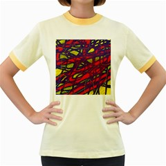 Abstract high art Women s Fitted Ringer T-Shirts