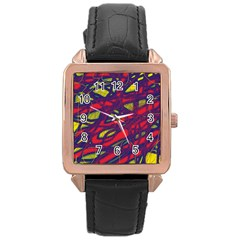 Abstract high art Rose Gold Leather Watch