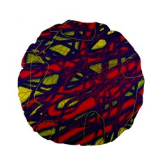 Abstract high art Standard 15  Premium Flano Round Cushions