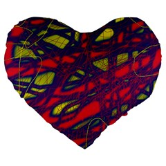Abstract high art Large 19  Premium Flano Heart Shape Cushions