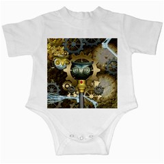 Steampunk, Awesome Owls With Clocks And Gears Infant Creepers