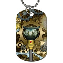 Steampunk, Awesome Owls With Clocks And Gears Dog Tag (One Side)