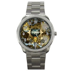 Steampunk, Awesome Owls With Clocks And Gears Sport Metal Watch