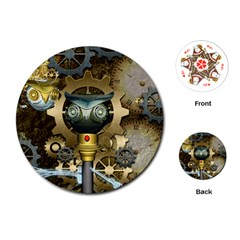 Steampunk, Awesome Owls With Clocks And Gears Playing Cards (Round)