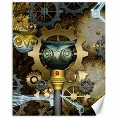 Steampunk, Awesome Owls With Clocks And Gears Canvas 16  x 20