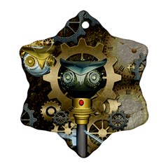 Steampunk, Awesome Owls With Clocks And Gears Ornament (snowflake)