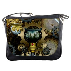 Steampunk, Awesome Owls With Clocks And Gears Messenger Bags