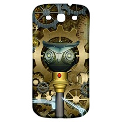 Steampunk, Awesome Owls With Clocks And Gears Samsung Galaxy S3 S III Classic Hardshell Back Case
