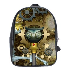 Steampunk, Awesome Owls With Clocks And Gears School Bags (XL)