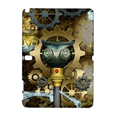 Steampunk, Awesome Owls With Clocks And Gears Samsung Galaxy Note 10.1 (P600) Hardshell Case