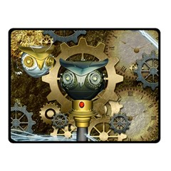 Steampunk, Awesome Owls With Clocks And Gears Double Sided Fleece Blanket (Small)