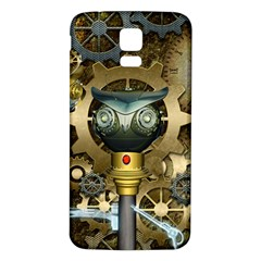 Steampunk, Awesome Owls With Clocks And Gears Samsung Galaxy S5 Back Case (White)