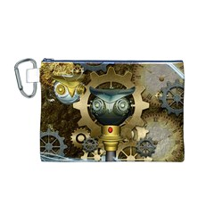 Steampunk, Awesome Owls With Clocks And Gears Canvas Cosmetic Bag (M)