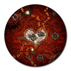 Steampunk, Wonderful Heart With Clocks And Gears On Red Background Round Mousepads