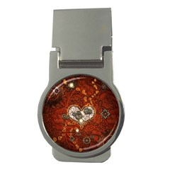 Steampunk, Wonderful Heart With Clocks And Gears On Red Background Money Clips (Round)