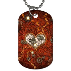Steampunk, Wonderful Heart With Clocks And Gears On Red Background Dog Tag (One Side)