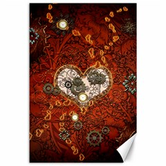 Steampunk, Wonderful Heart With Clocks And Gears On Red Background Canvas 24  X 36