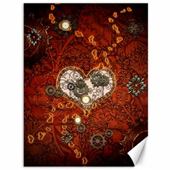 Steampunk, Wonderful Heart With Clocks And Gears On Red Background Canvas 36  x 48
