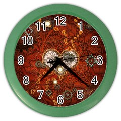 Steampunk, Wonderful Heart With Clocks And Gears On Red Background Color Wall Clocks