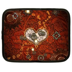 Steampunk, Wonderful Heart With Clocks And Gears On Red Background Netbook Case (Large)