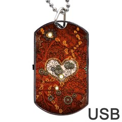 Steampunk, Wonderful Heart With Clocks And Gears On Red Background Dog Tag USB Flash (One Side)