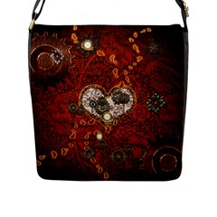 Steampunk, Wonderful Heart With Clocks And Gears On Red Background Flap Messenger Bag (L)