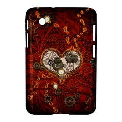 Steampunk, Wonderful Heart With Clocks And Gears On Red Background Samsung Galaxy Tab 2 (7 ) P3100 Hardshell Case