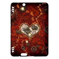 Steampunk, Wonderful Heart With Clocks And Gears On Red Background Kindle Fire HDX Hardshell Case