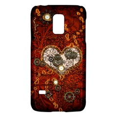 Steampunk, Wonderful Heart With Clocks And Gears On Red Background Galaxy S5 Mini