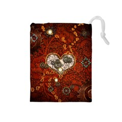Steampunk, Wonderful Heart With Clocks And Gears On Red Background Drawstring Pouches (Medium)