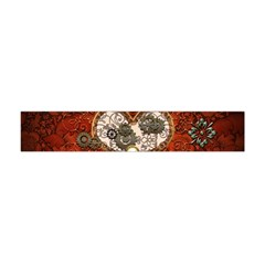 Steampunk, Wonderful Heart With Clocks And Gears On Red Background Flano Scarf (Mini)