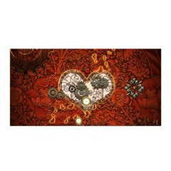 Steampunk, Wonderful Heart With Clocks And Gears On Red Background Satin Wrap