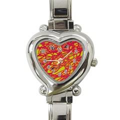 Orange neon Heart Italian Charm Watch