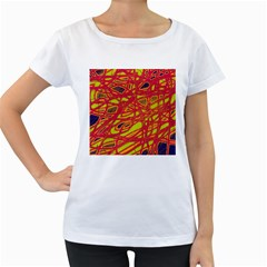 Orange neon Women s Loose-Fit T-Shirt (White)
