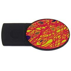 Orange neon USB Flash Drive Oval (4 GB)