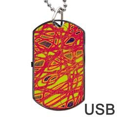 Orange neon Dog Tag USB Flash (One Side)