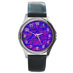 Blue Round Metal Watch