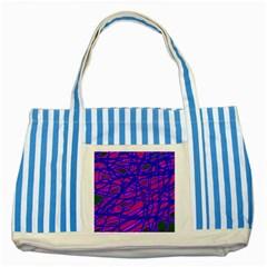Blue Striped Blue Tote Bag