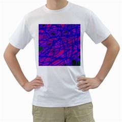 Blue Men s T-Shirt (White)