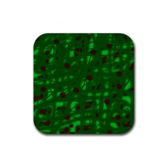 Green  Rubber Square Coaster (4 pack)