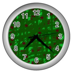 Green  Wall Clocks (Silver)