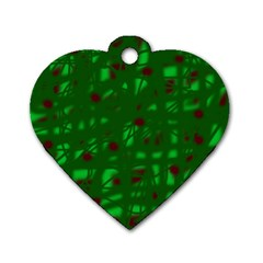 Green  Dog Tag Heart (Two Sides)