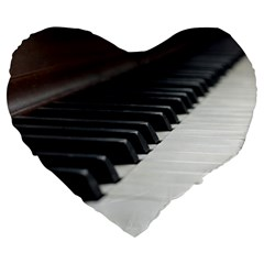 Piano Keys  Large 19  Premium Flano Heart Shape Cushions