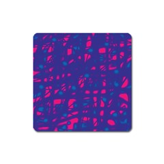 Blue and pink neon Square Magnet